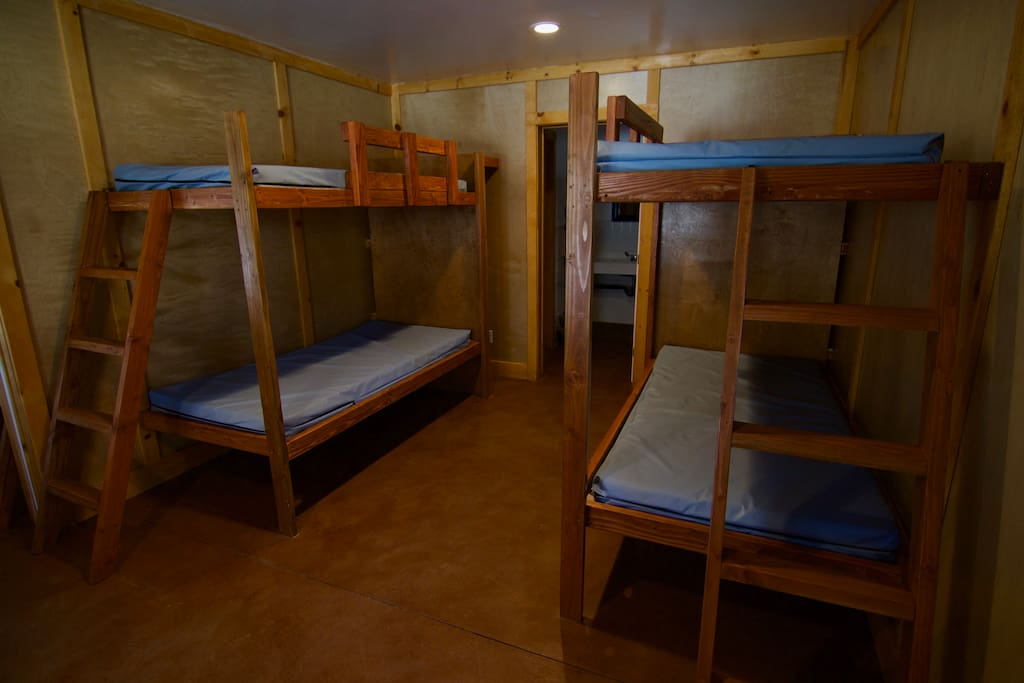 Set of bunk beds in cabin, without bedding
