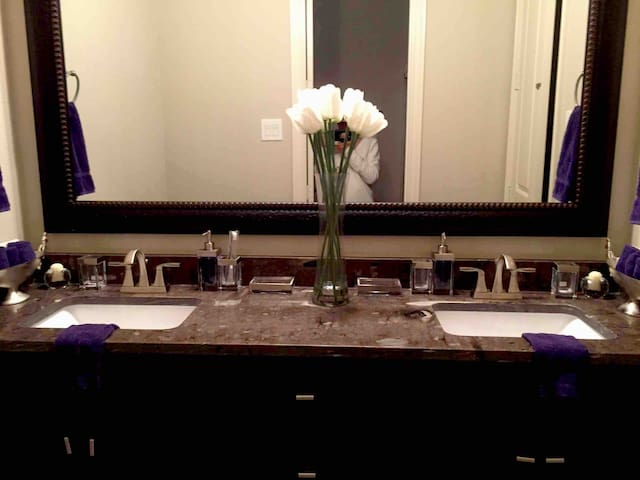 Separate double square sinks situated inside modern granite vanity counter top