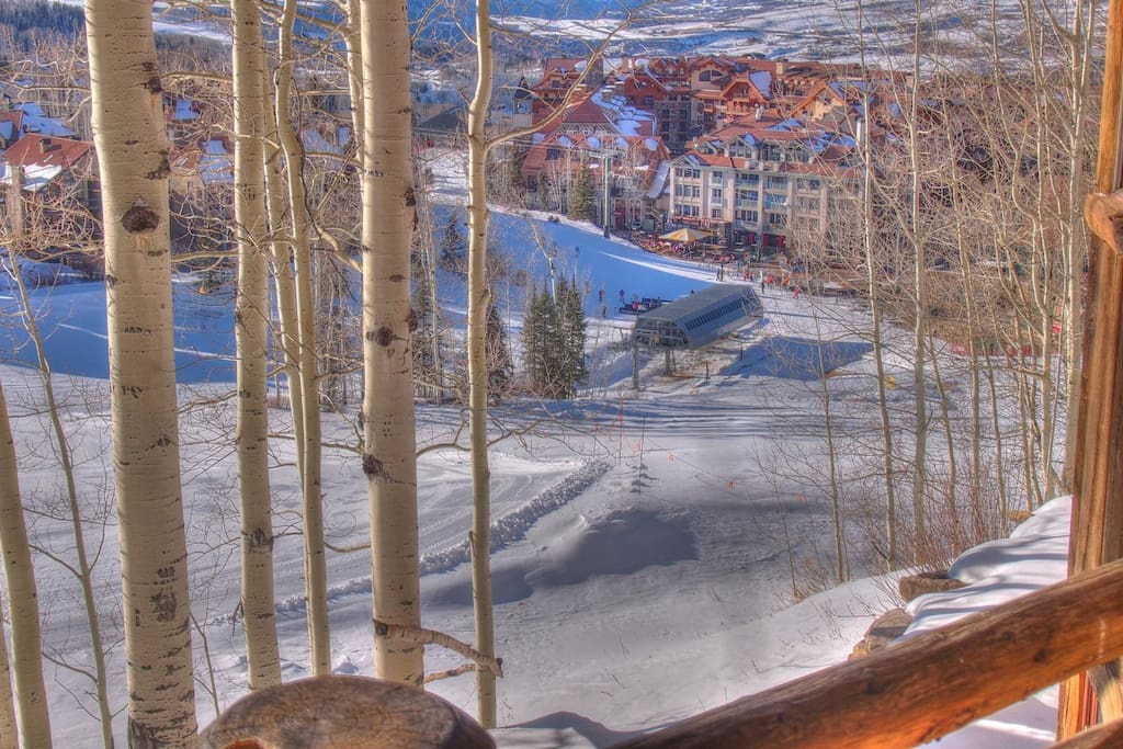 Village Core - Even though you're above it all, the village core is just a few turns away.  This picture taken from the deck looking down to the main village lift and gondola station.