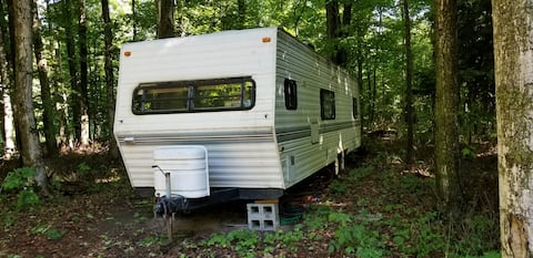 28Ft RV Camper  in the Woods w/Outdoor Hot Tub