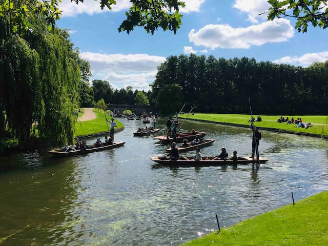 Punting on the river Cam to see the beautiful and historic Cambridge University. This is a lovely thing to do in the Spring and Summer.