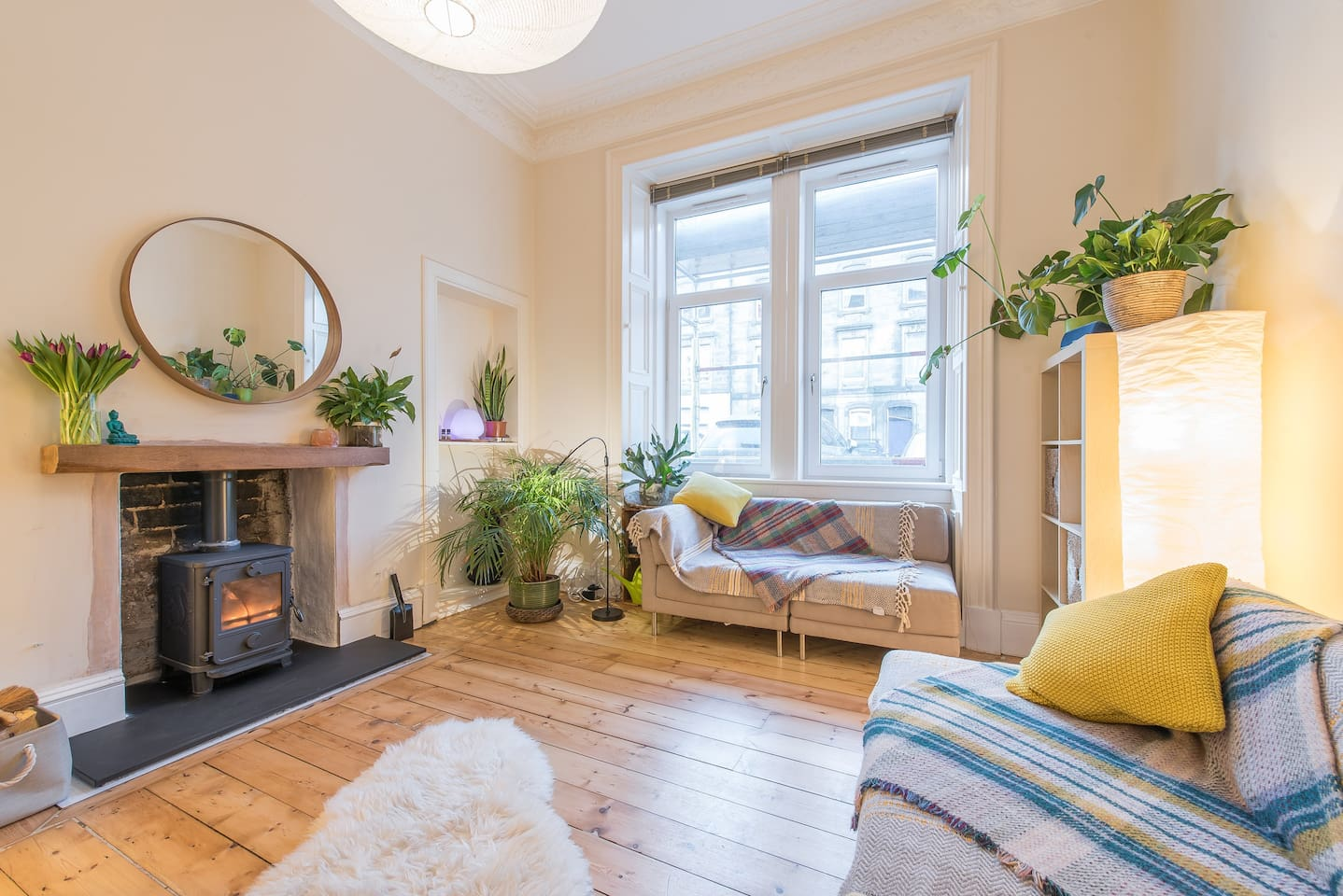 Bright & sunny spacious Living room with newly installed Wood burning stove.
