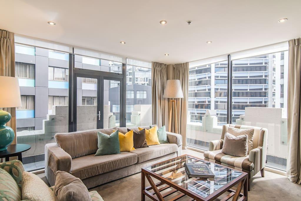 Living area with luxury designer furnishings