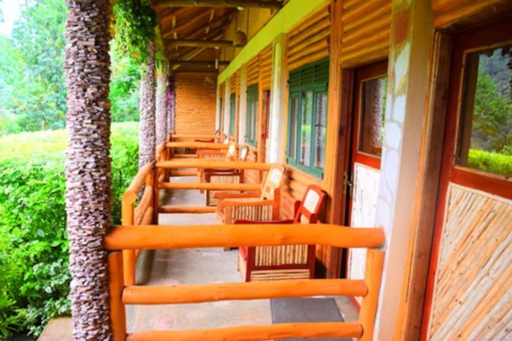 Each guestroom has its own little verandah with spectacular views of the forest