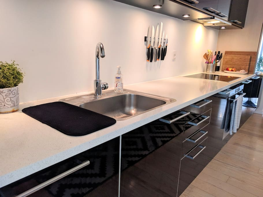 The kitchen. Since we live here you will find all the standard items needed for cooking - pots/pans/oil etc.