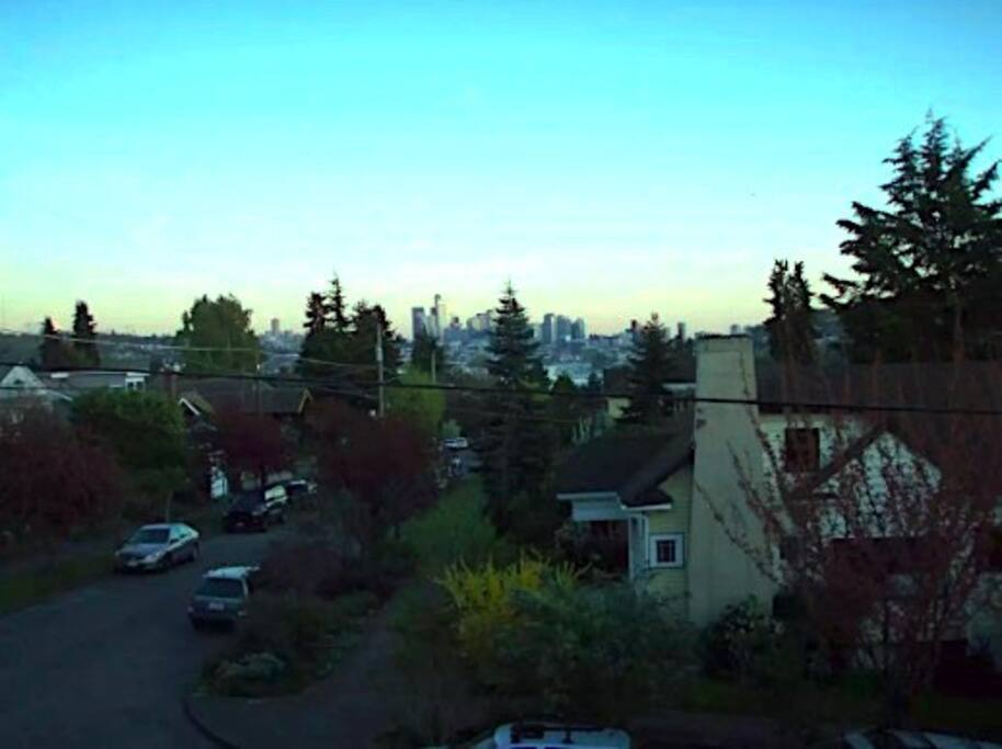 View of downtown and Rainer from the front balcony