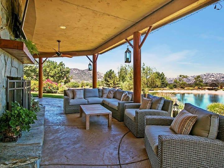 San Diego (Fallbrook) LAKEFRONT Estate w/ Gameroom