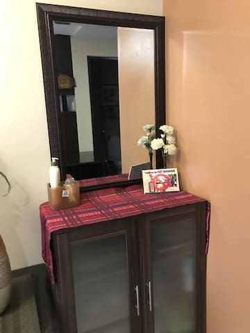 vanity table with mirror.