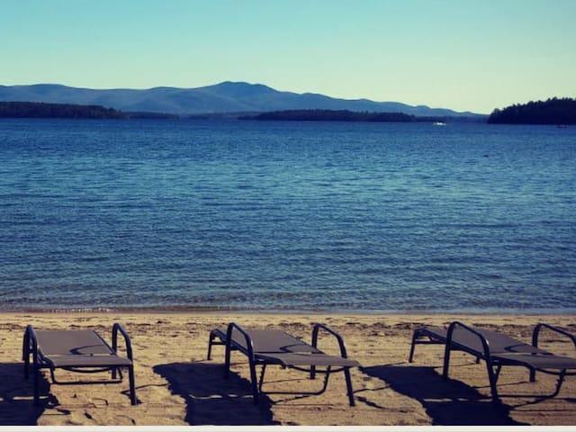 Beach with lounge chairs
