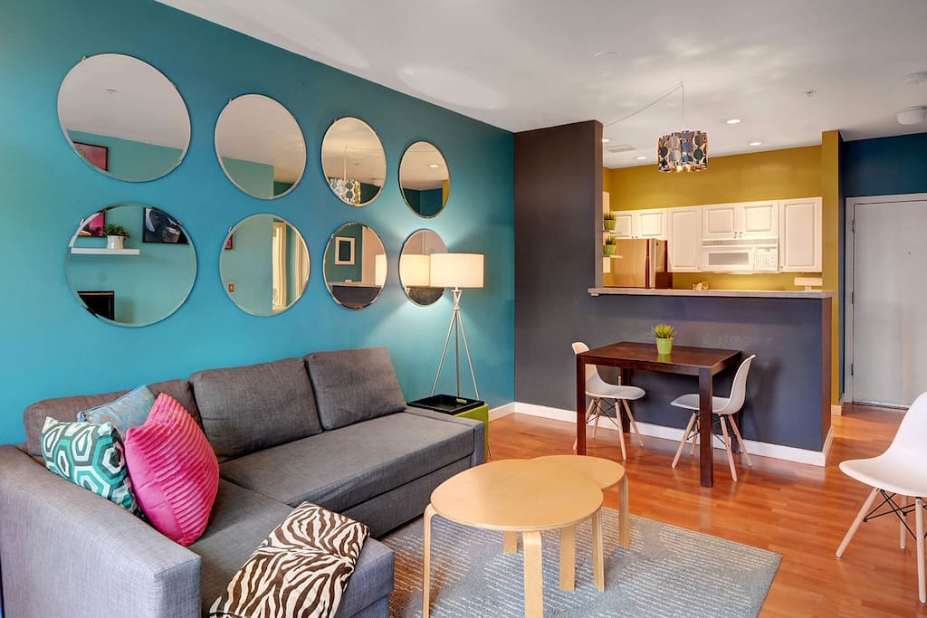 Inviting space decorated in lively bright colors.