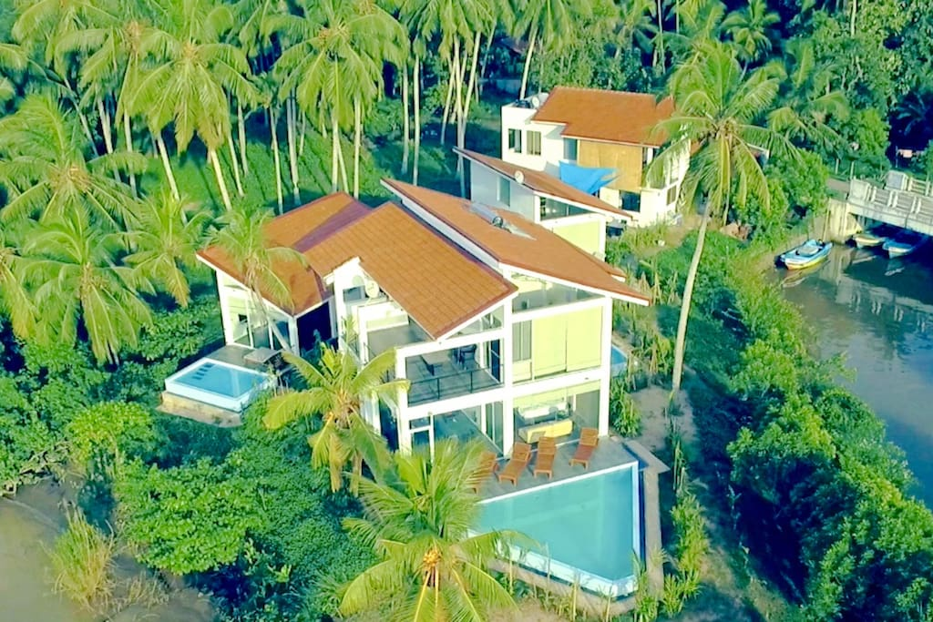 Aerial view of Waterland.  The Peacock Villa is the villa with the triangular pool