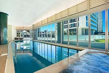 Free use Hotel 4 outdoor and indoor swimming pools located in the deck area(2nd floor) 酒店共配有4个室外/室内泳池/1个桑拿房可免费使用