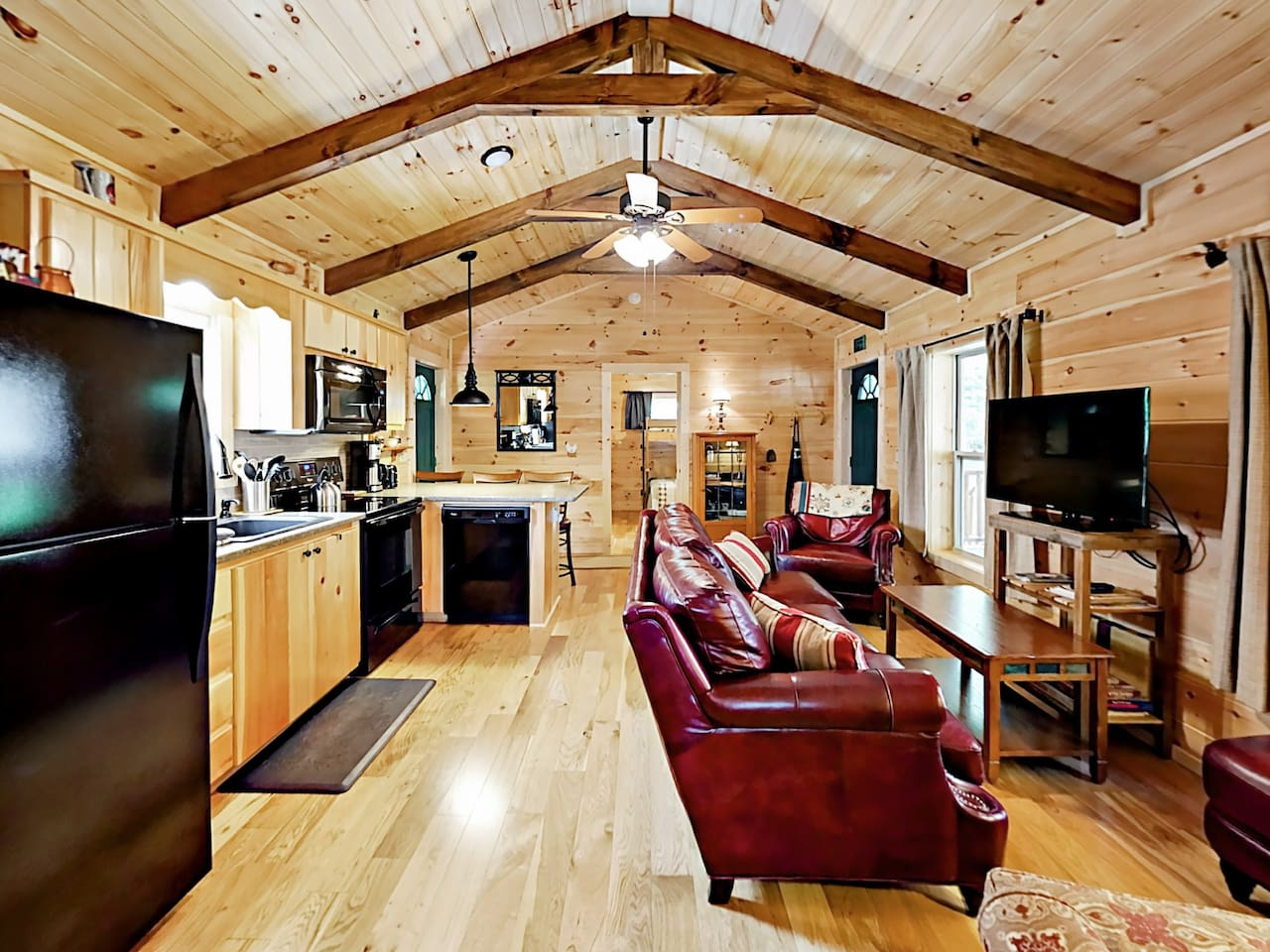 Affectionately known as Creekside, the 1st cabin offers a stylish open floor plan.