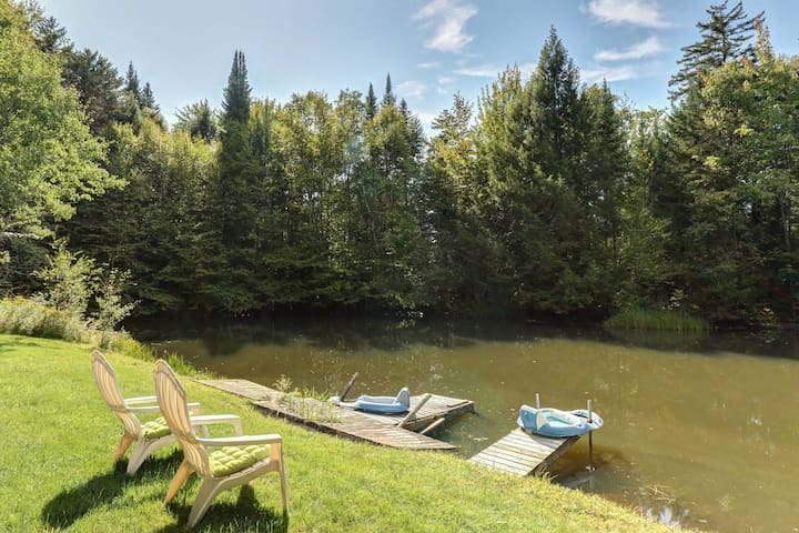 Cozy house w/ a pond for swimming, large yard, & private sauna