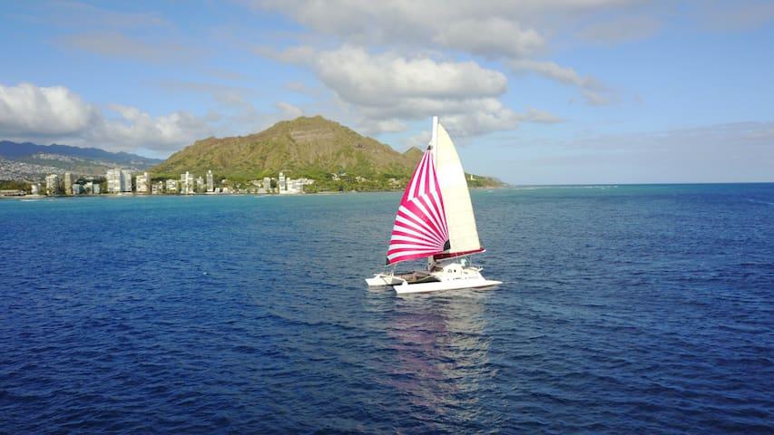 fascinating sailboat near downtown