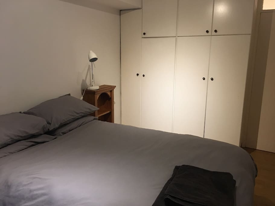 Double bed and built in wardrobes