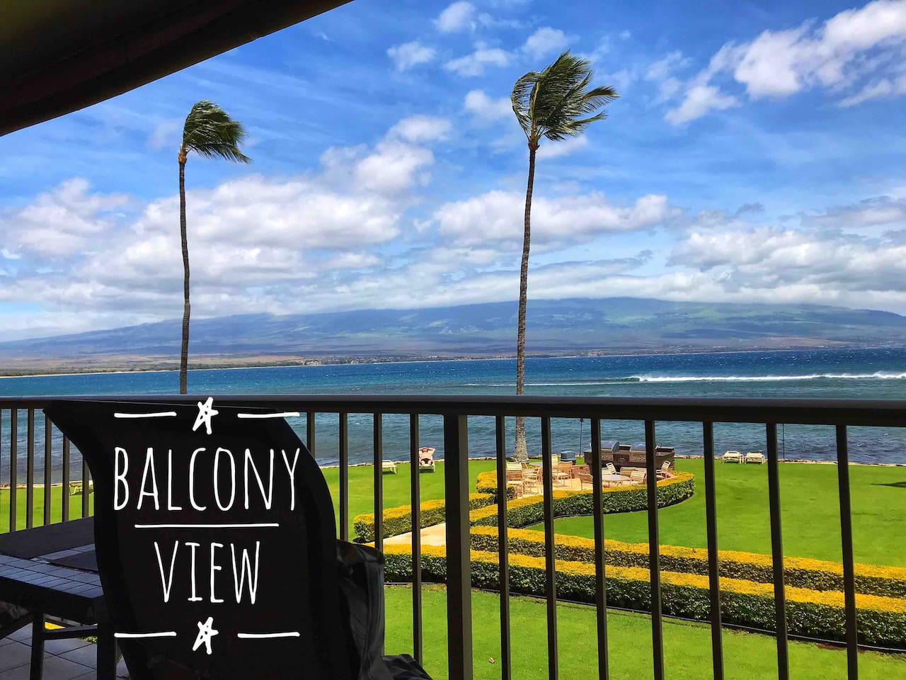 Balcony View - Panoramic views of South Maui, Haleakala, & West Maui Mountains. Fantastic spot to watch the famous Maui sunrise, sunset, people surfing, watching the honu (green sea turtle), and whales breaching during whale season!