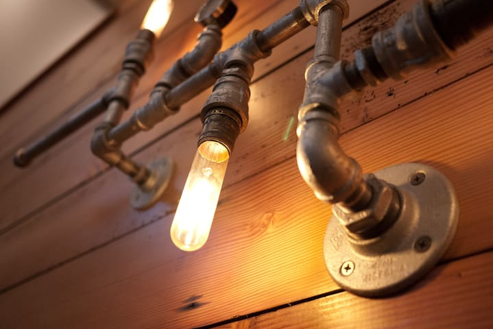 Steampunk inspired lighting adds some nice ambiance.