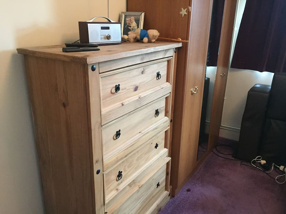 Plenty of space with wardrobe and chest of drawers