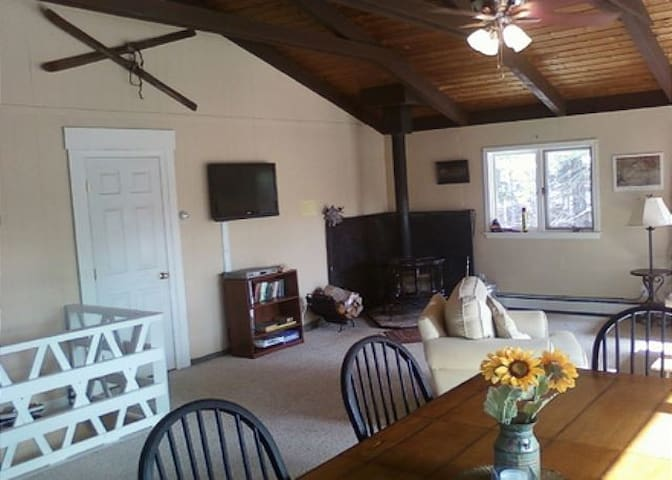 Great room, with wood-burning stove