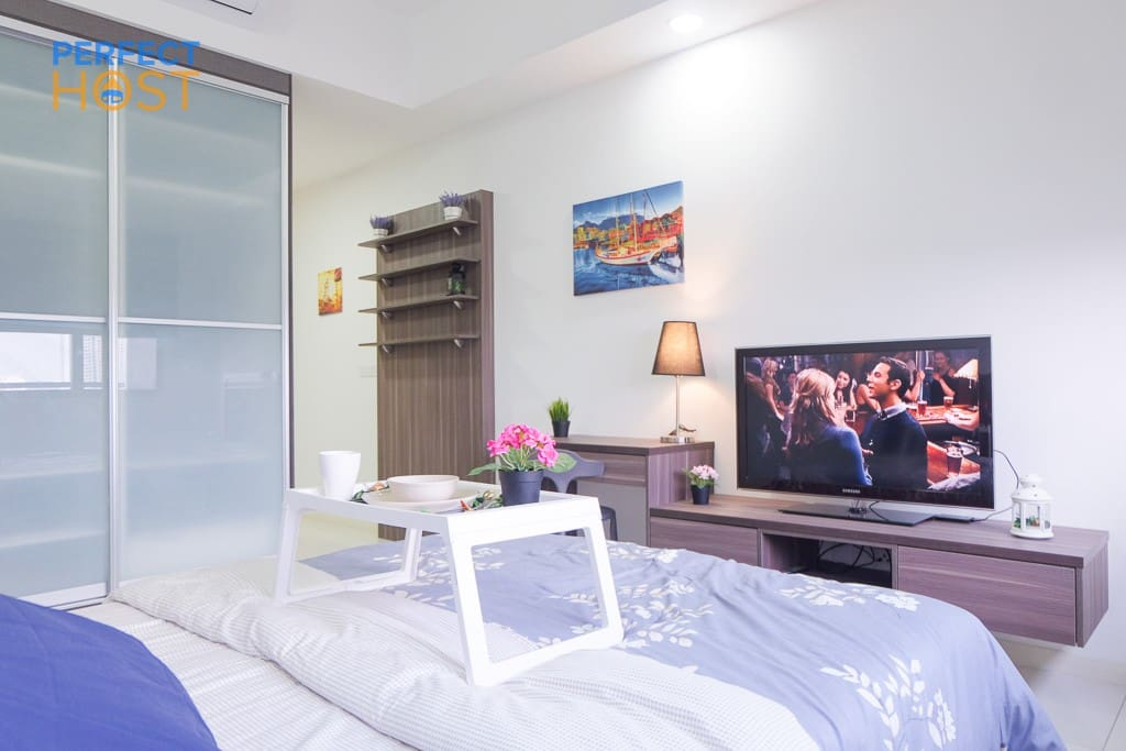 enjoy smart tv from your comfort bed