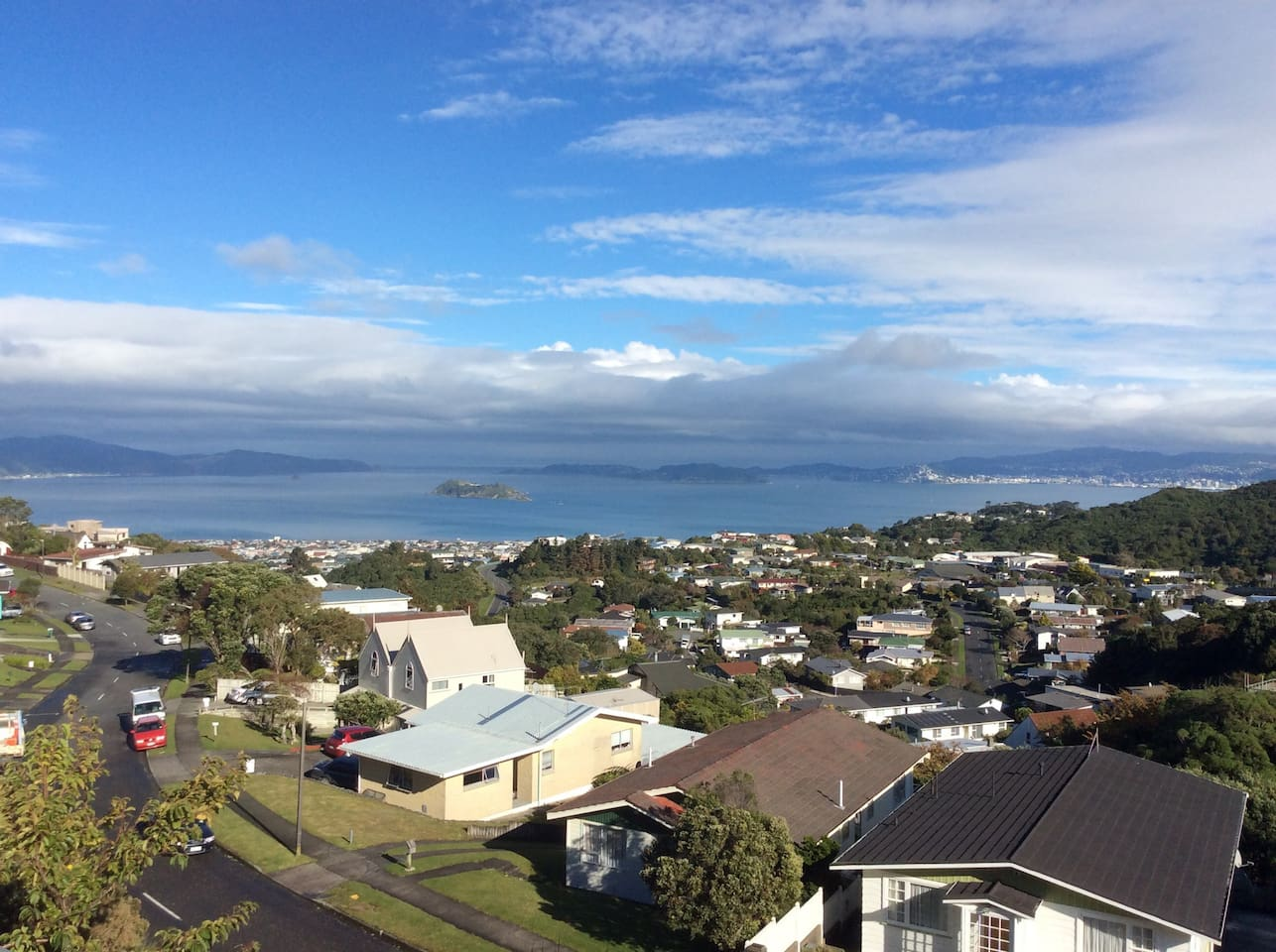 Views of Wellington Harbour from large deck