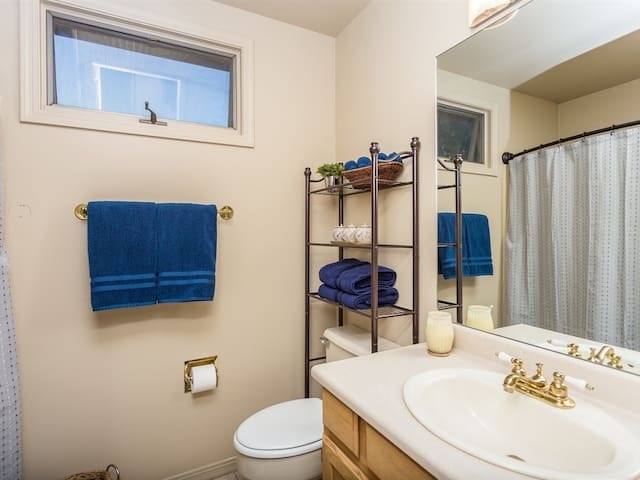 Upstairs bathroom with shower serves Queen and Twin guest rooms