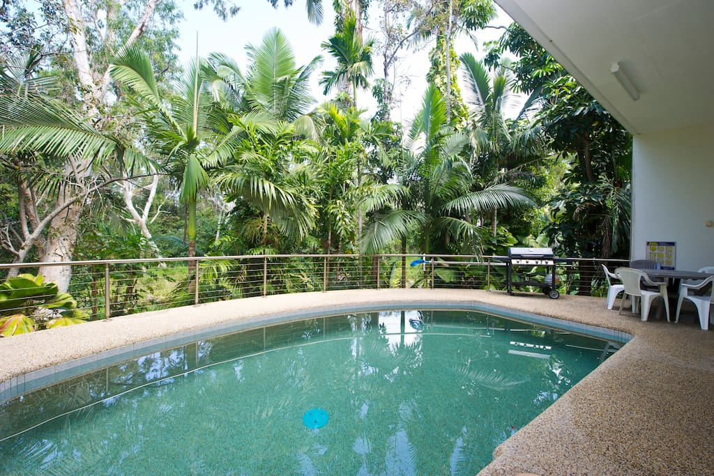 Pool surrounded by lush gardens