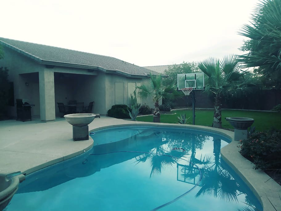 Shoot some hoops while enjoying the pool