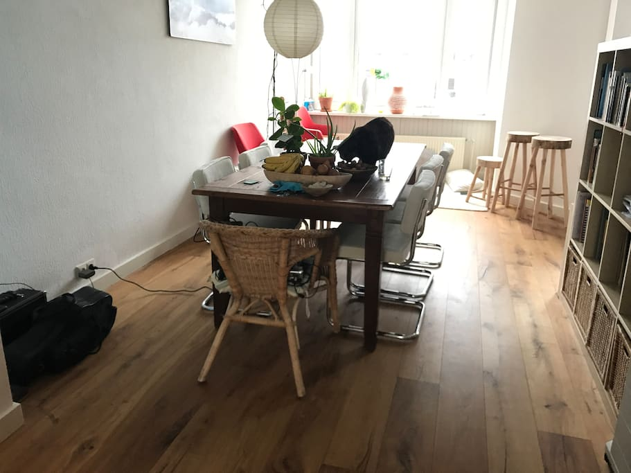 Big dining table with 6 chairs