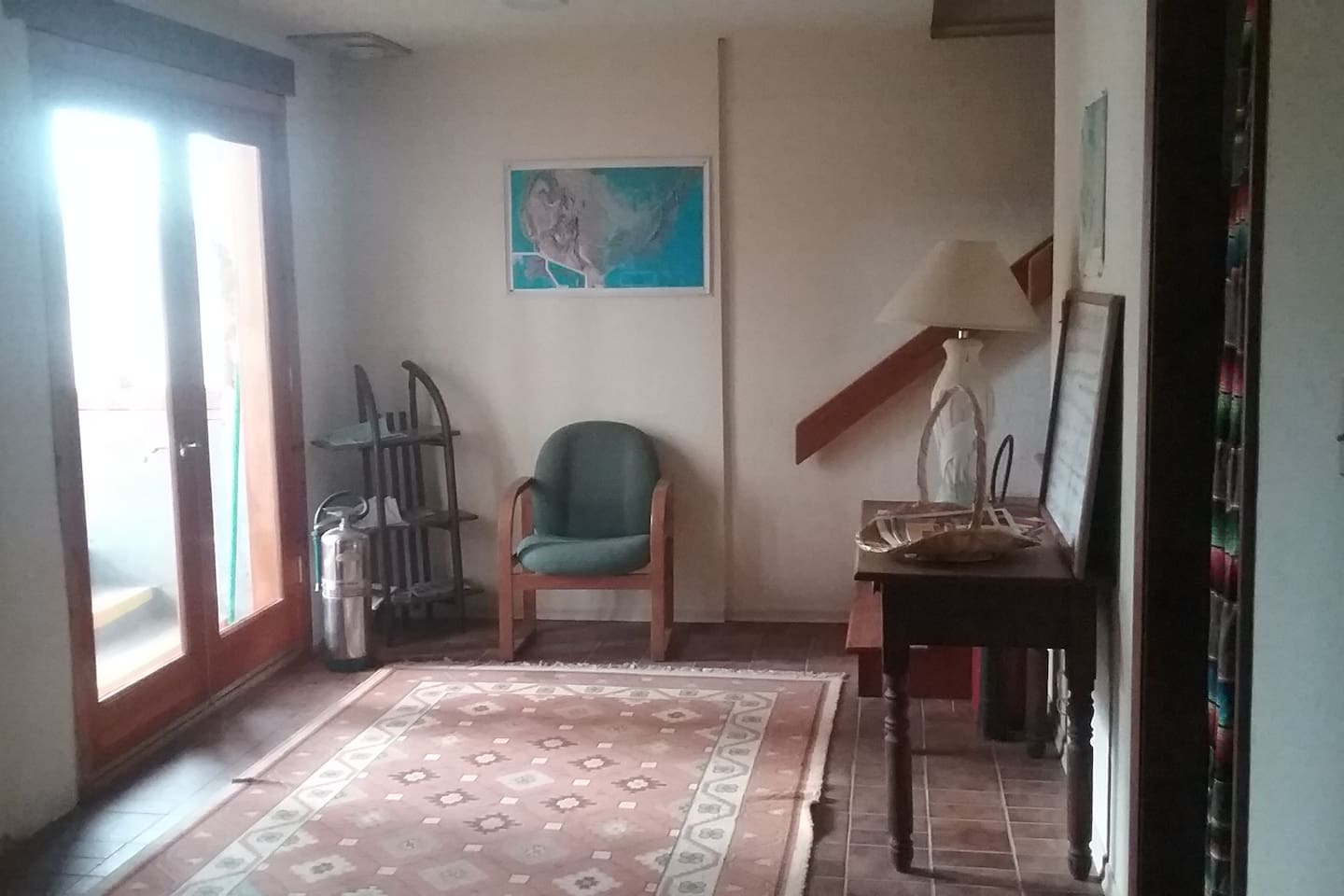 Lower level Hostel entrance and information table.