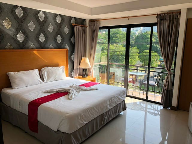 Mountain view hotel room