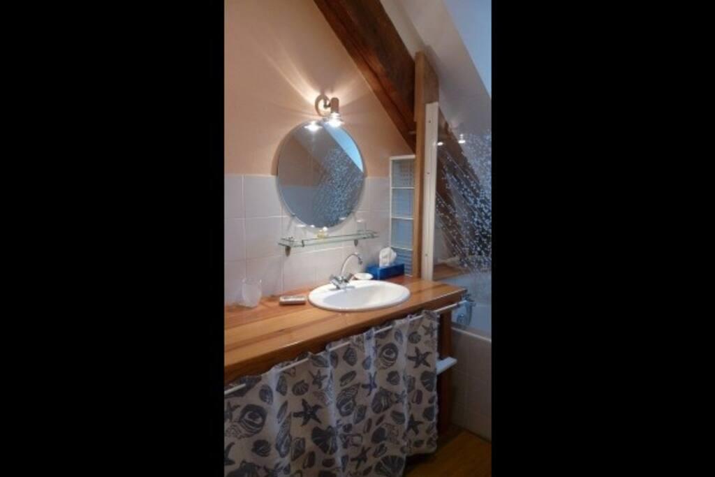 Maison à Gavarnie salle de bain avec baignoire et douche