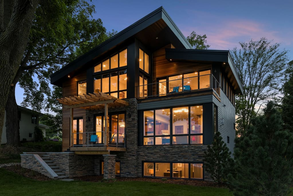 Three floors of floor to ceiling glass with stunning views of Lake Minnetonka's Crystal Bay shoreline