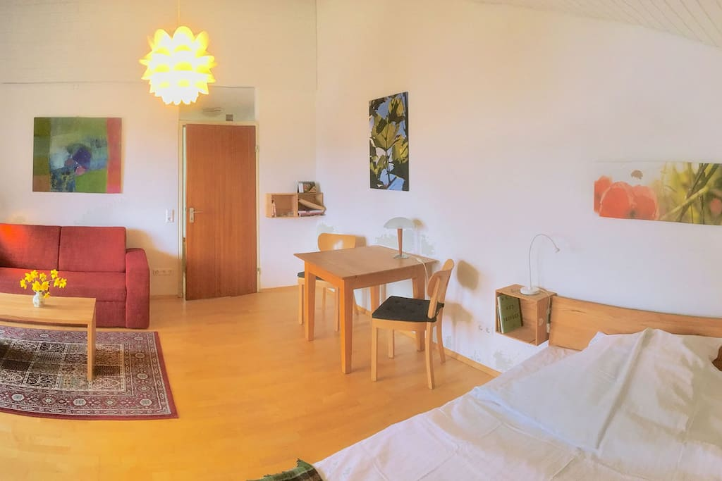 panorama of our sunny and bright living and sleeping area