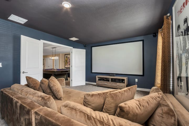 Modern Pool Villa with Game Room and Movie Theater