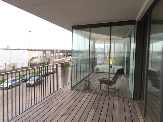 Great terrace at the river, new apt. top location