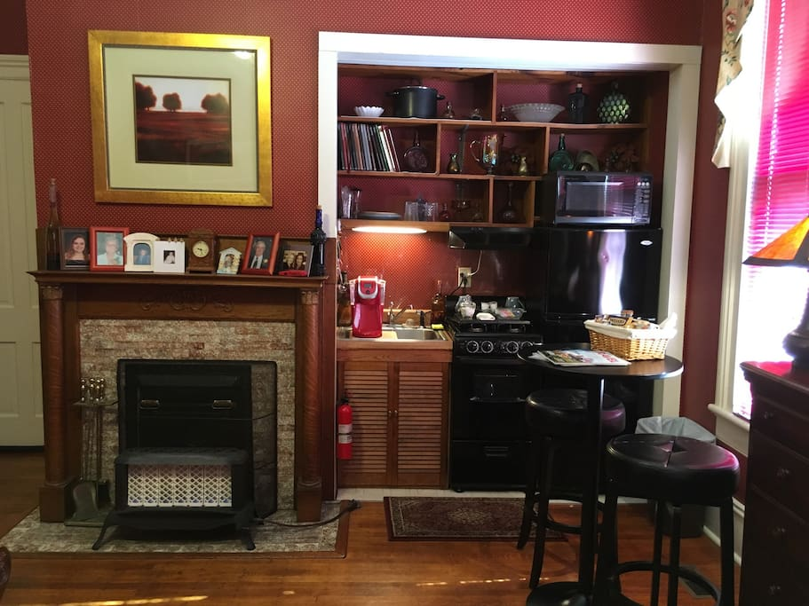 Fireplace with kitchenette
