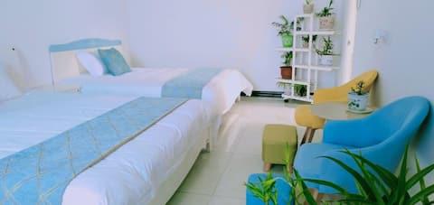 近故居独栋温馨亲子套房三室一厅免费办理通行证