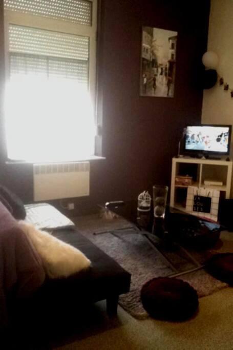 Deux grandes fenêtres, séjour très lumineux avec télé et wifi