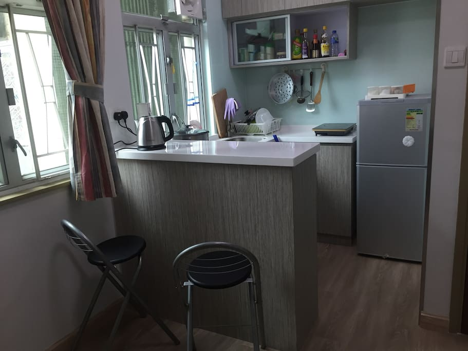 Far view of the kitchen