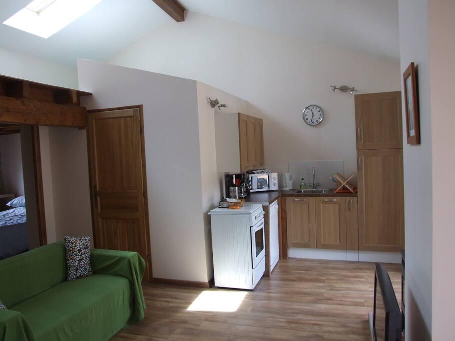 Kitchen space, with fridge freezer and dishwasher