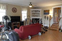 Shared family area with big screen TV, fireplace, stereo, far-infrared sauna, piano, guitar, and great gym!