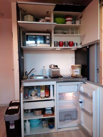 Kitchenette équipée avec micro-ondes, plaques à induction, bouilloire, grille-pain, cafetière, réfrigérateur... (1er)