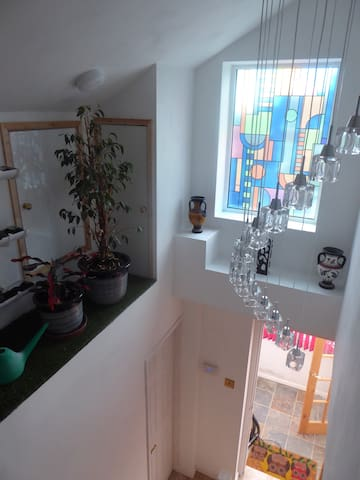 View down the stairs of Stained glass Window, Pendant Light & Indoor Garden