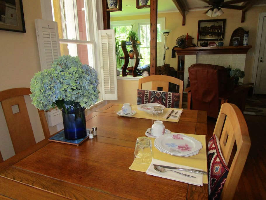 Have your continental breakfast in the dining room or on the deck.