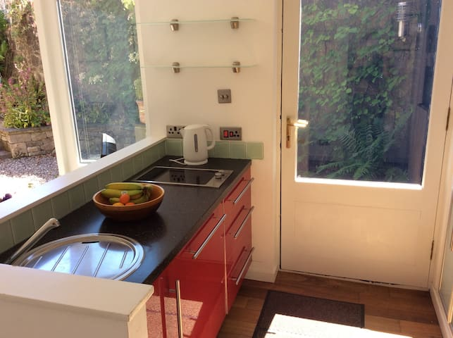 Kitchen facilities with small hob, microwave, fridge, freezer and sink.
