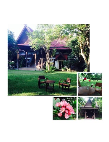 Teak wood house with garden/swimming pool