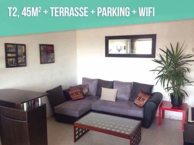 Proche des PLAGES T2 45m2 +TERASSE +WIFI +PARKING - Lunel - อพาร์ทเมนท์