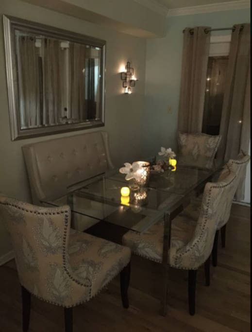 Candlelit dining table that seats up to 6 guests
